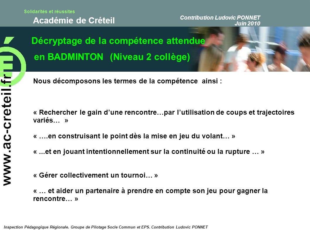 Décryptage de la compétence attendue en BADMINTON (Niveau 2 collège)