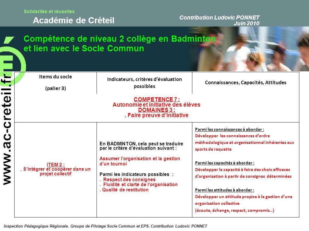 Compétence de niveau 2 collège en Badminton