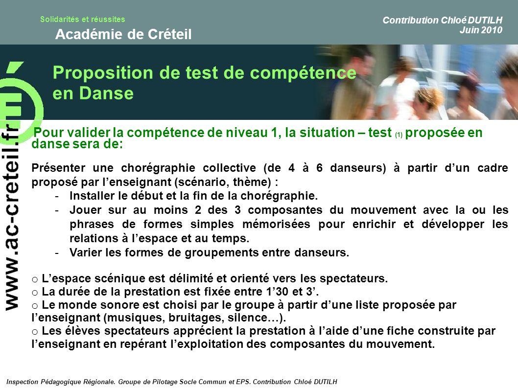 Proposition de test de compétence en Danse