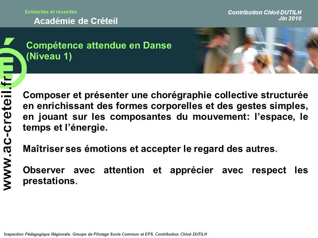 Compétence attendue en Danse (Niveau 1)