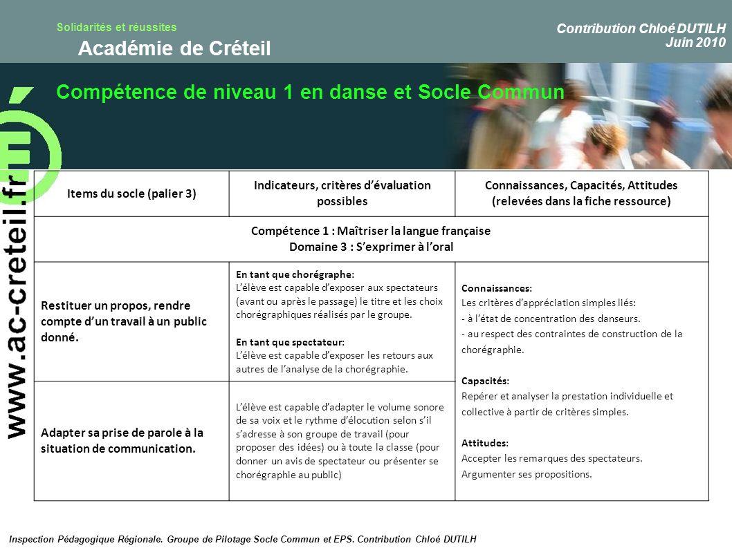 Compétence de niveau 1 en danse et Socle Commun