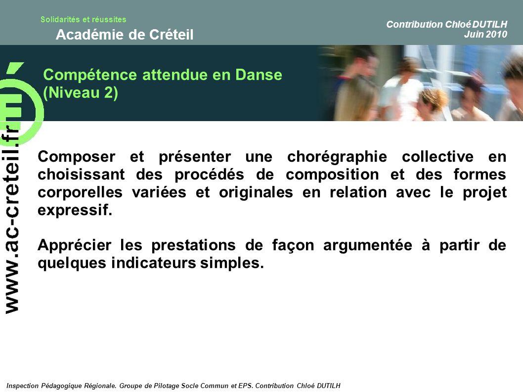 Compétence attendue en Danse (Niveau 2)