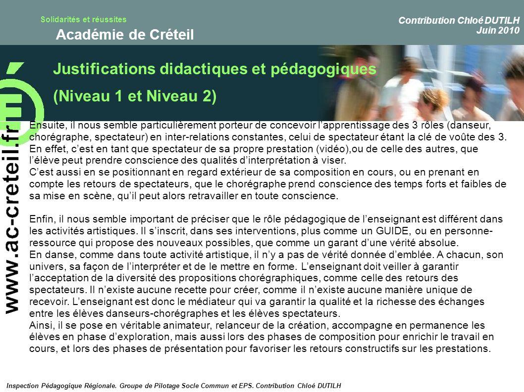 Justifications didactiques et pédagogiques (Niveau 1 et Niveau 2)