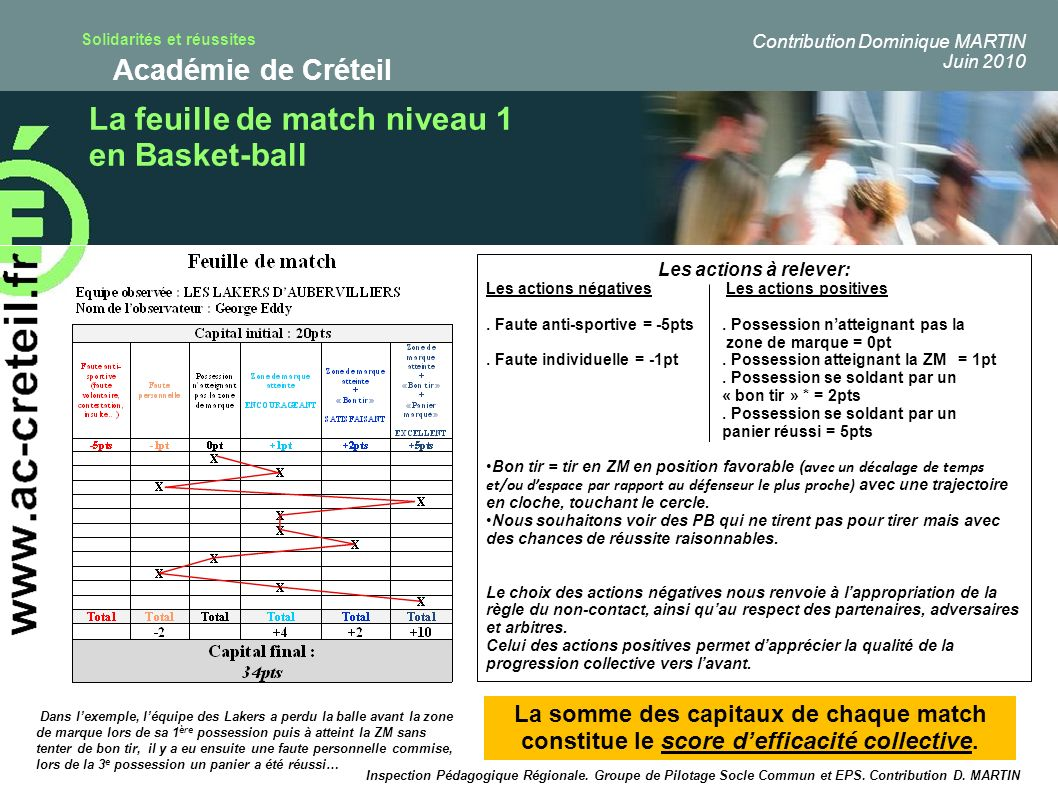 La feuille de match niveau 1 en Basket-ball