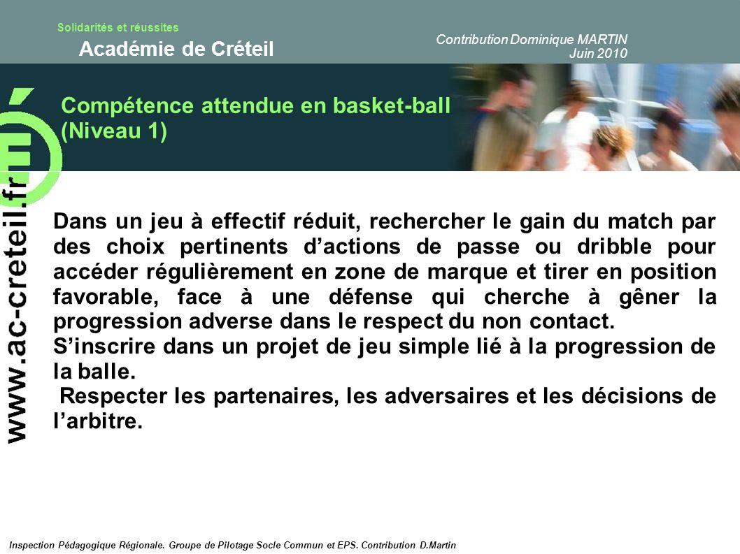 Compétence attendue en basket-ball (Niveau 1)