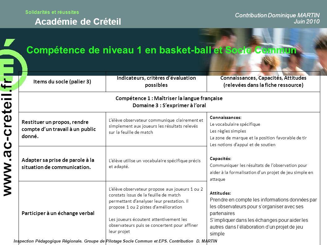 Compétence de niveau 1 en basket-ball et Socle Commun