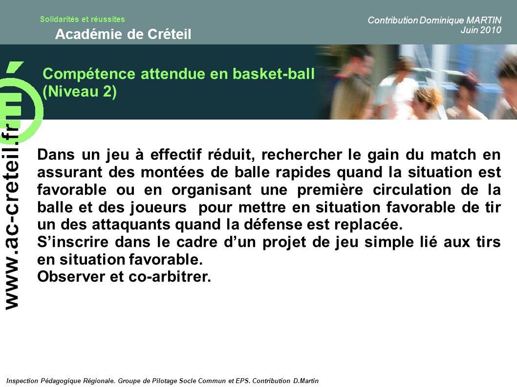 Compétence attendue en basket-ball (Niveau 2)
