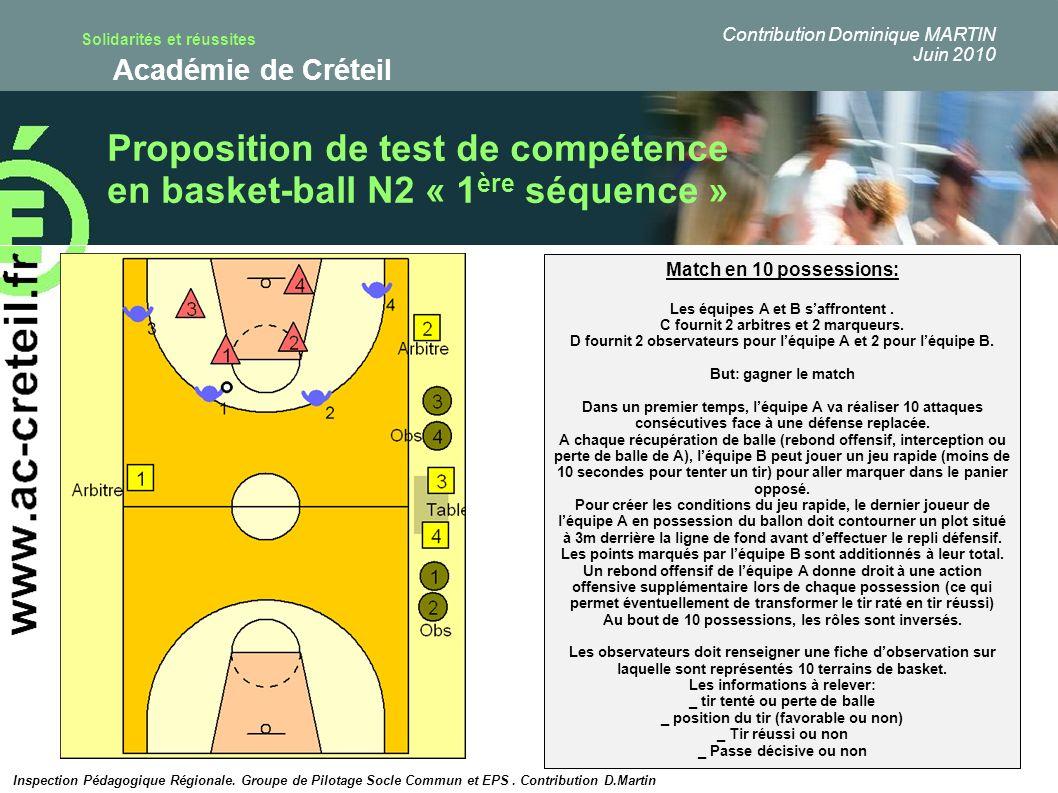 Proposition de test de compétence en basket-ball N2 « 1ère séquence »