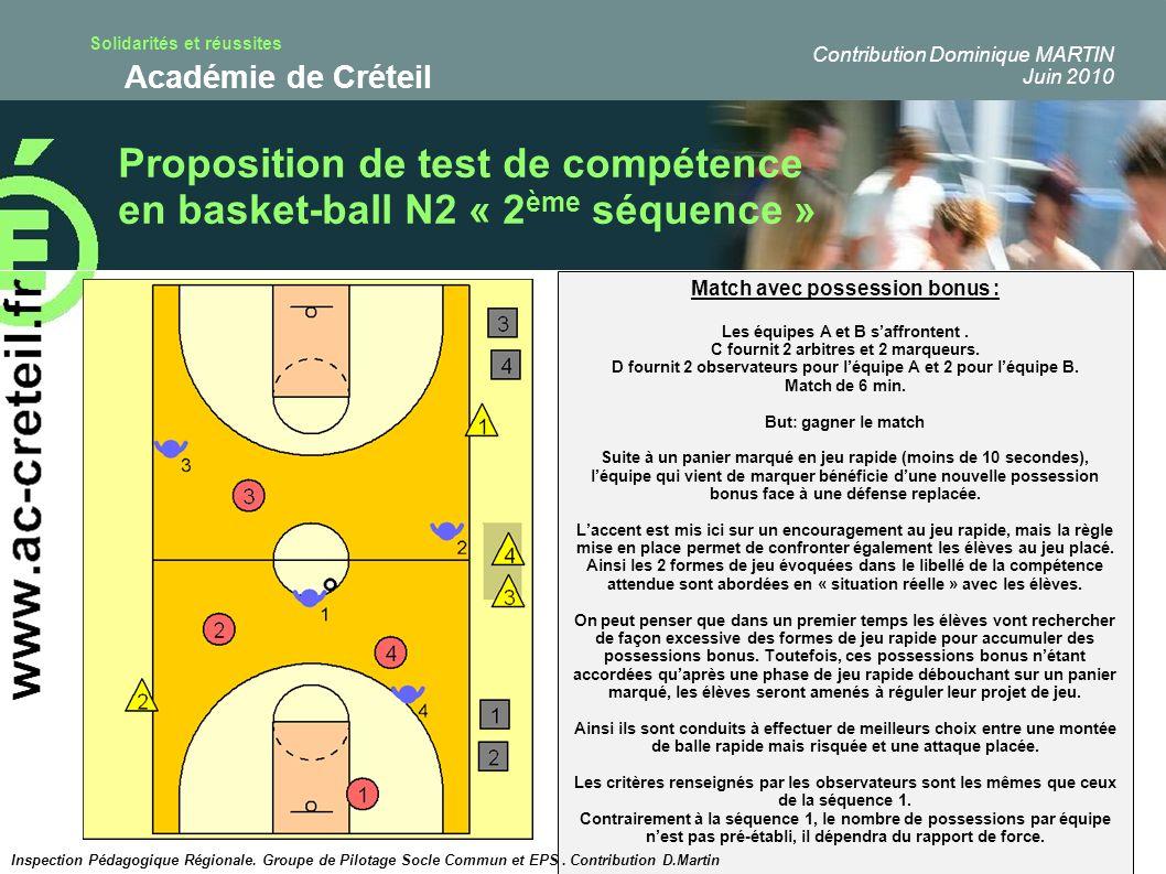 Proposition de test de compétence en basket-ball N2 « 2ème séquence »