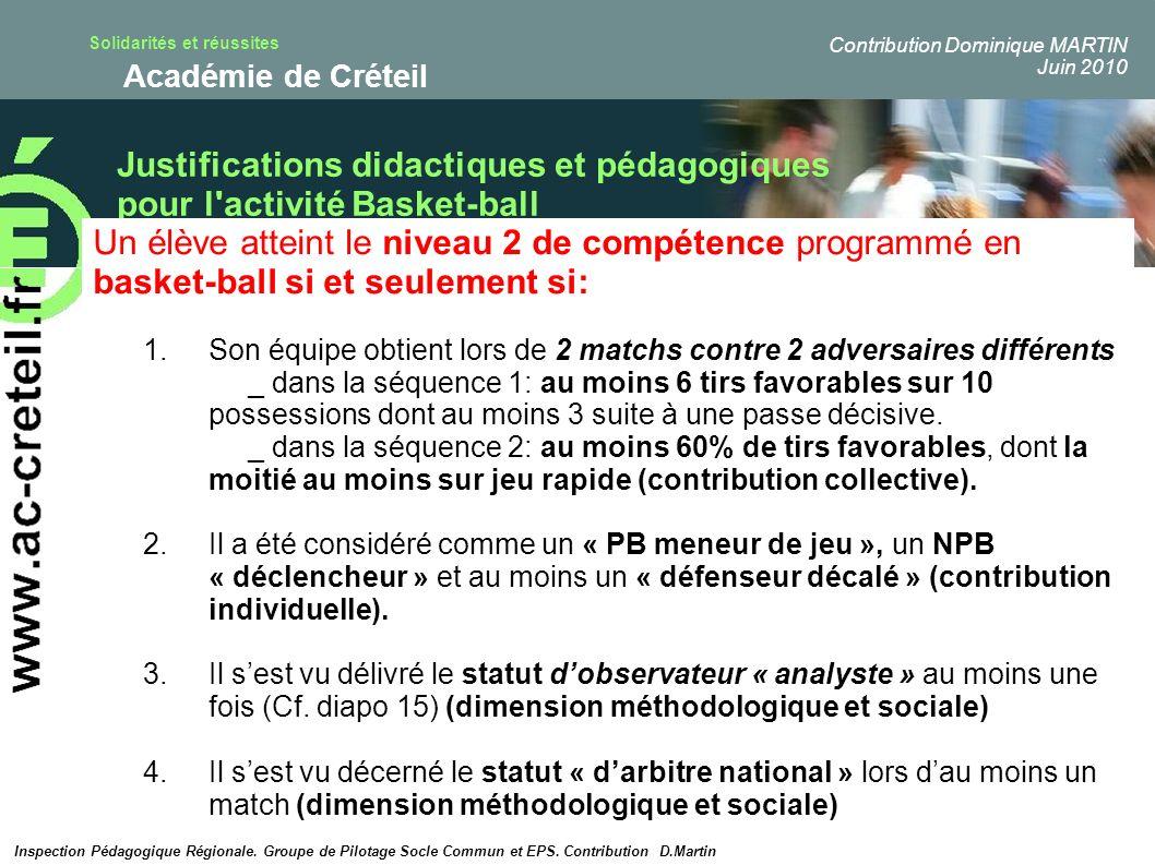 Justifications didactiques et pédagogiques pour l activité Basket-ball