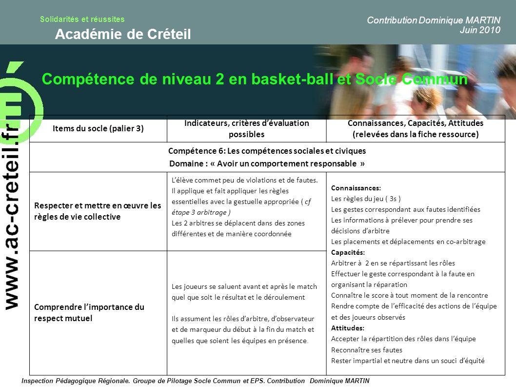 Compétence de niveau 2 en basket-ball et Socle Commun