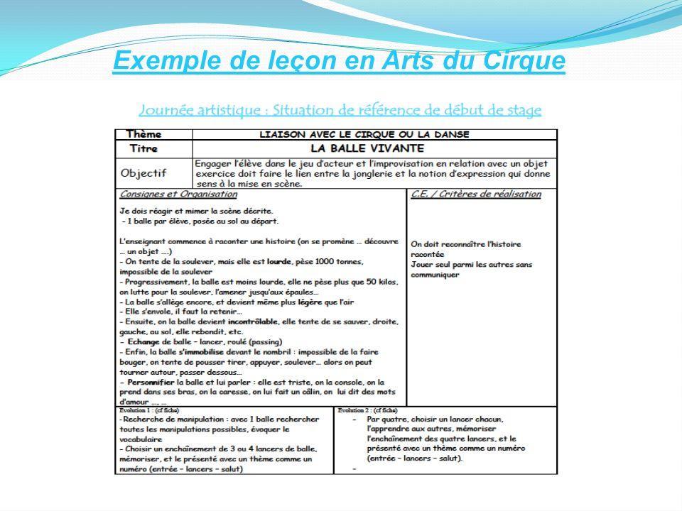 Exemple de leçon en Arts du Cirque