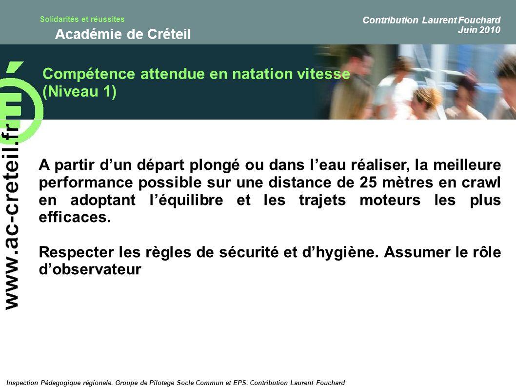 Compétence attendue en natation vitesse (Niveau 1)