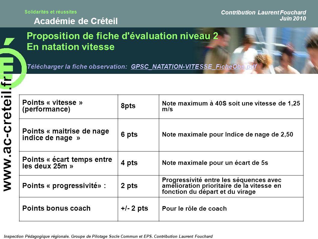 Proposition de fiche d évaluation niveau 2 En natation vitesse