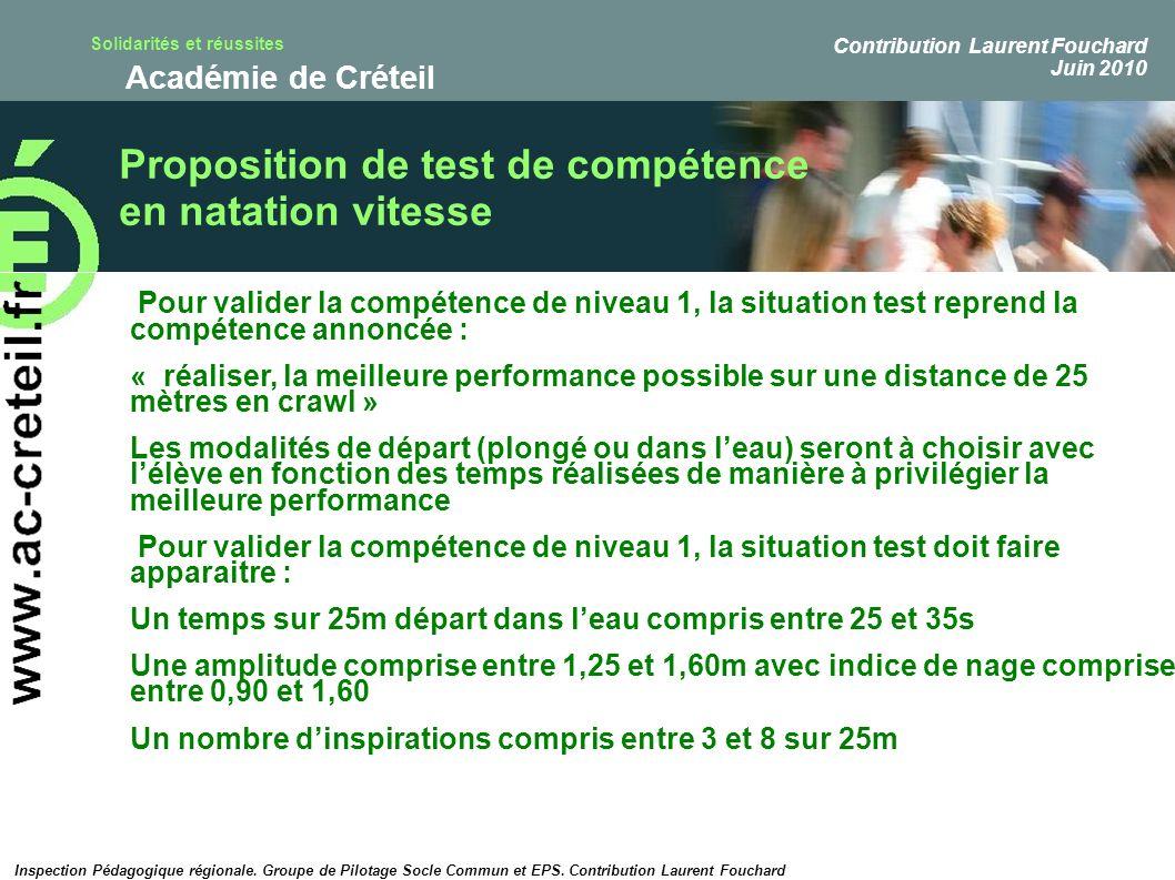 Proposition de test de compétence en natation vitesse