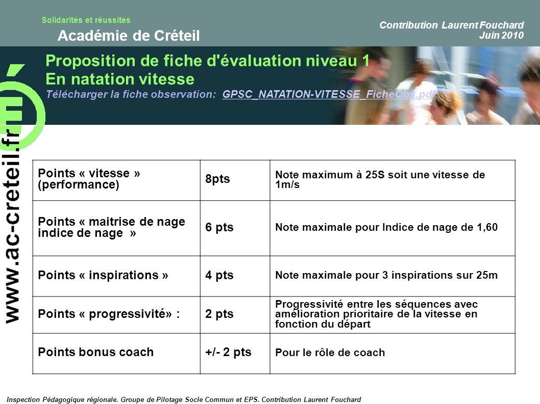 Proposition de fiche d évaluation niveau 1 En natation vitesse
