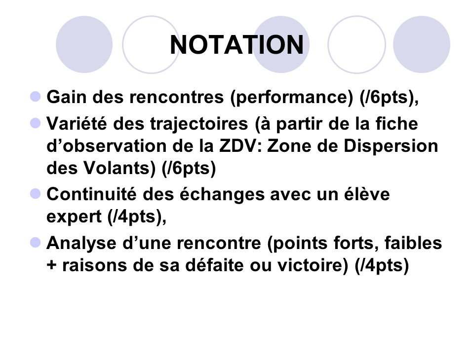 NOTATION Gain des rencontres (performance) (/6pts),