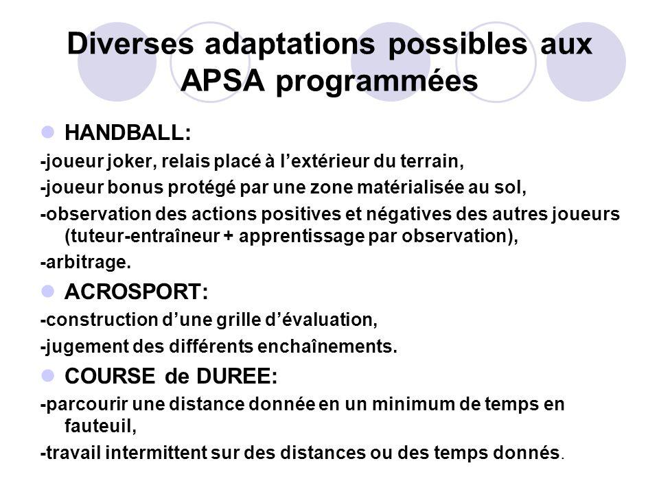 Diverses adaptations possibles aux APSA programmées