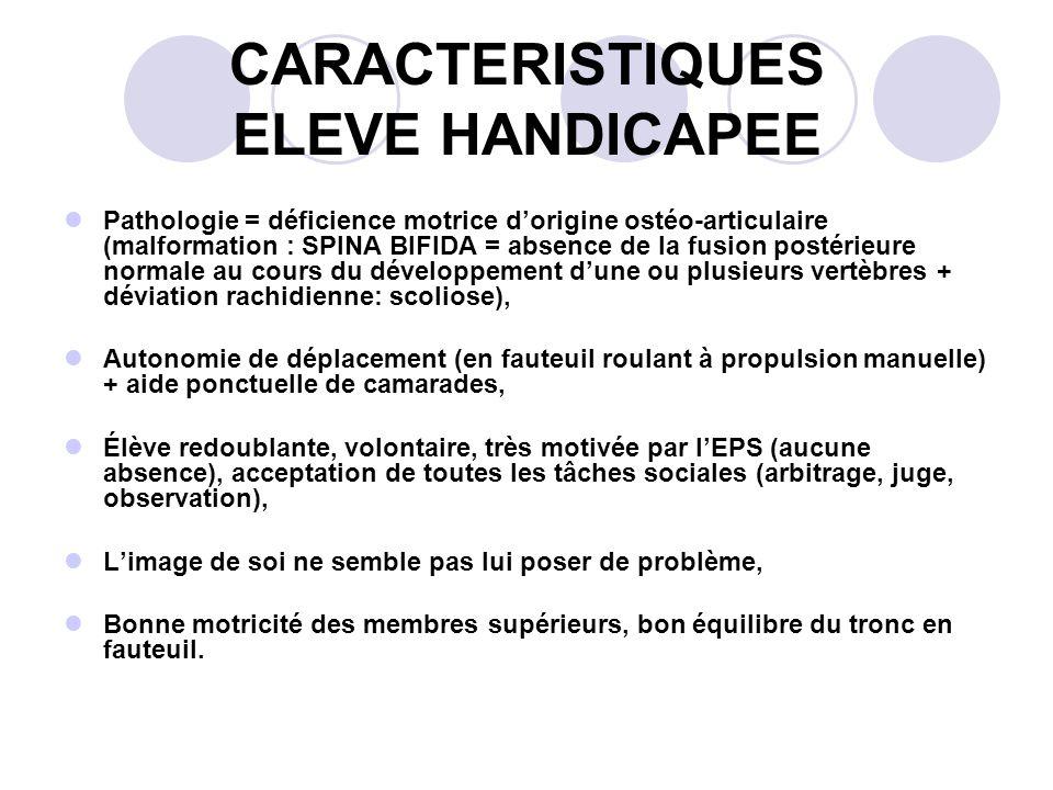 CARACTERISTIQUES ELEVE HANDICAPEE