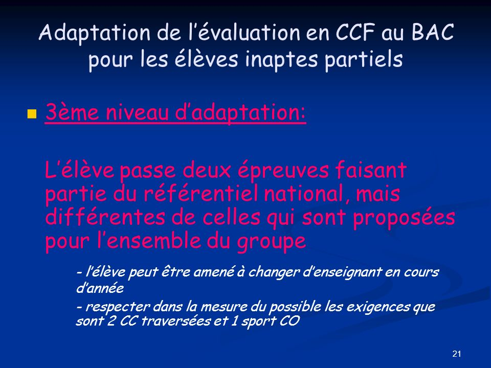 3ème niveau d'adaptation: