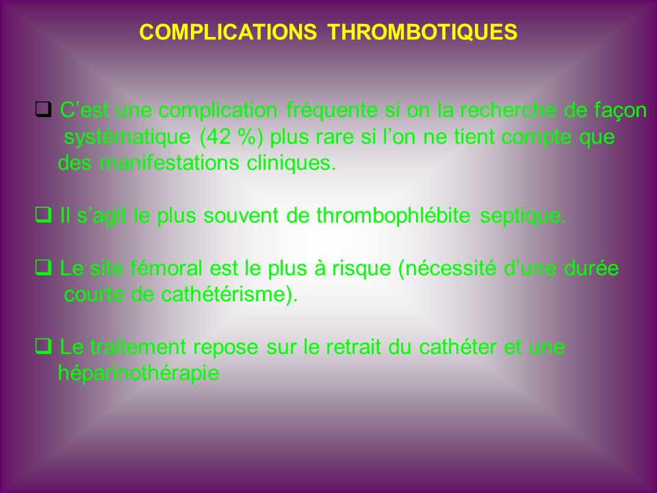 COMPLICATIONS THROMBOTIQUES