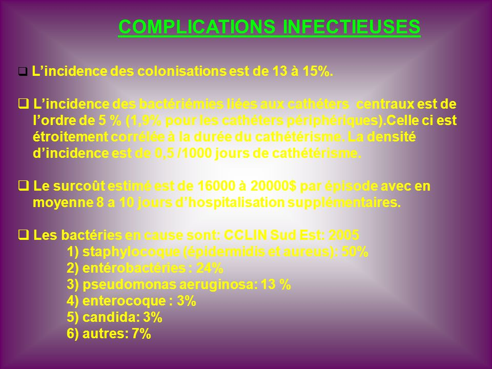 COMPLICATIONS INFECTIEUSES