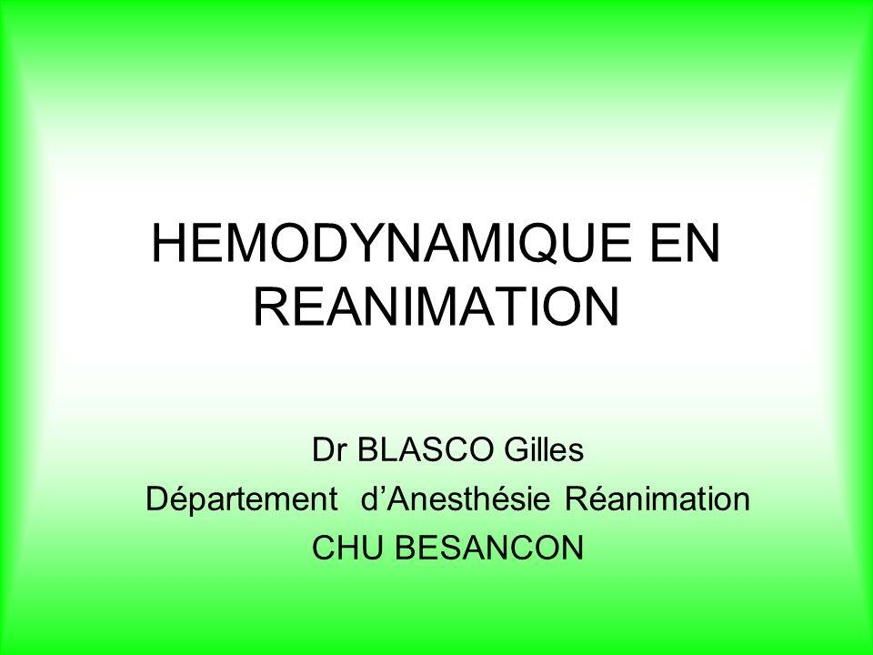 HEMODYNAMIQUE EN REANIMATION