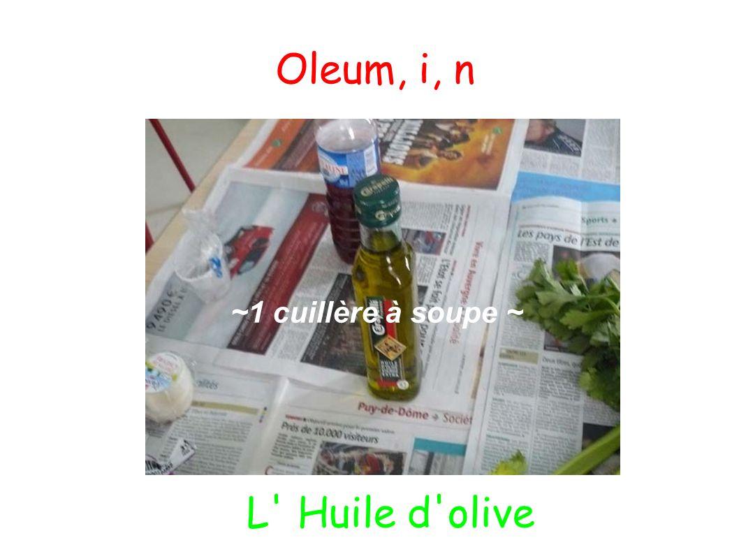 Oleum, i, n ~1 cuillère à soupe ~ L Huile d olive