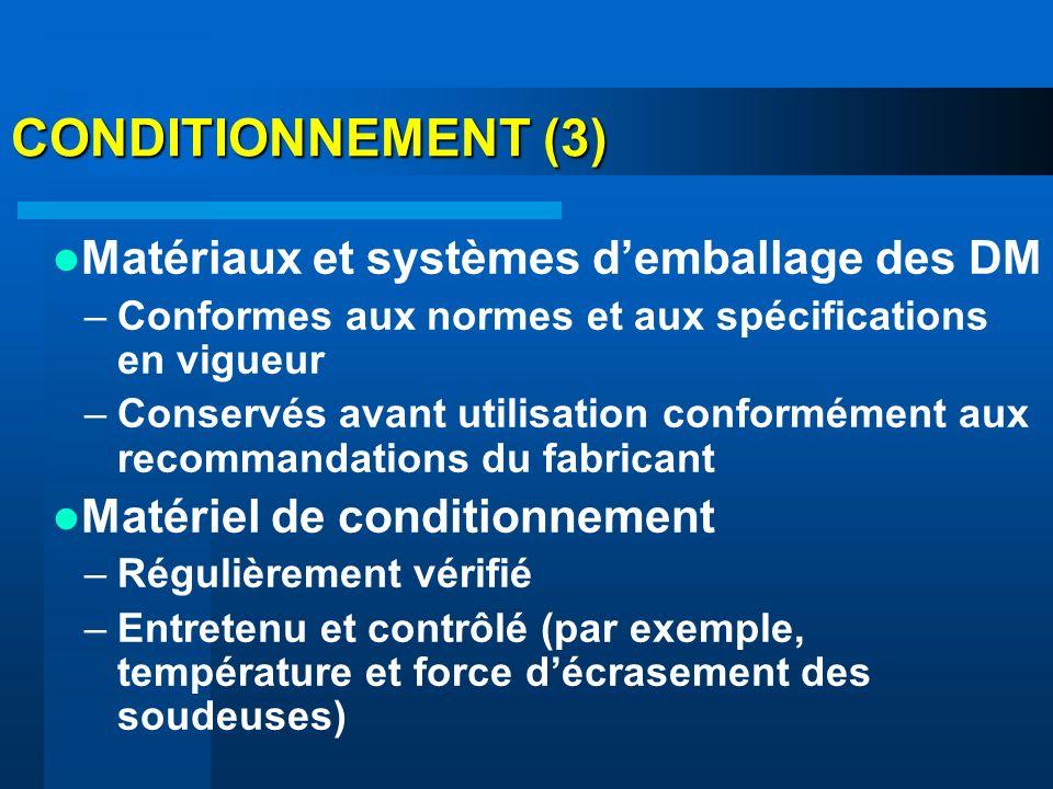 CONDITIONNEMENT (3) Matériaux et systèmes d'emballage des DM