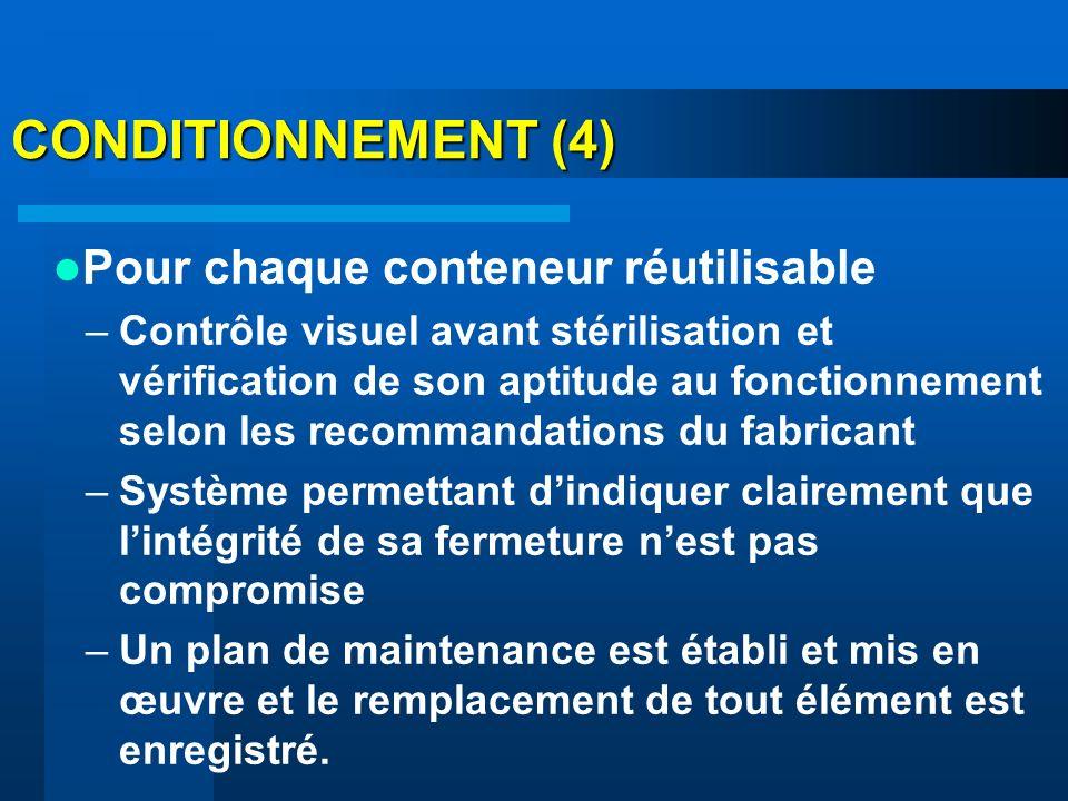 CONDITIONNEMENT (4) Pour chaque conteneur réutilisable