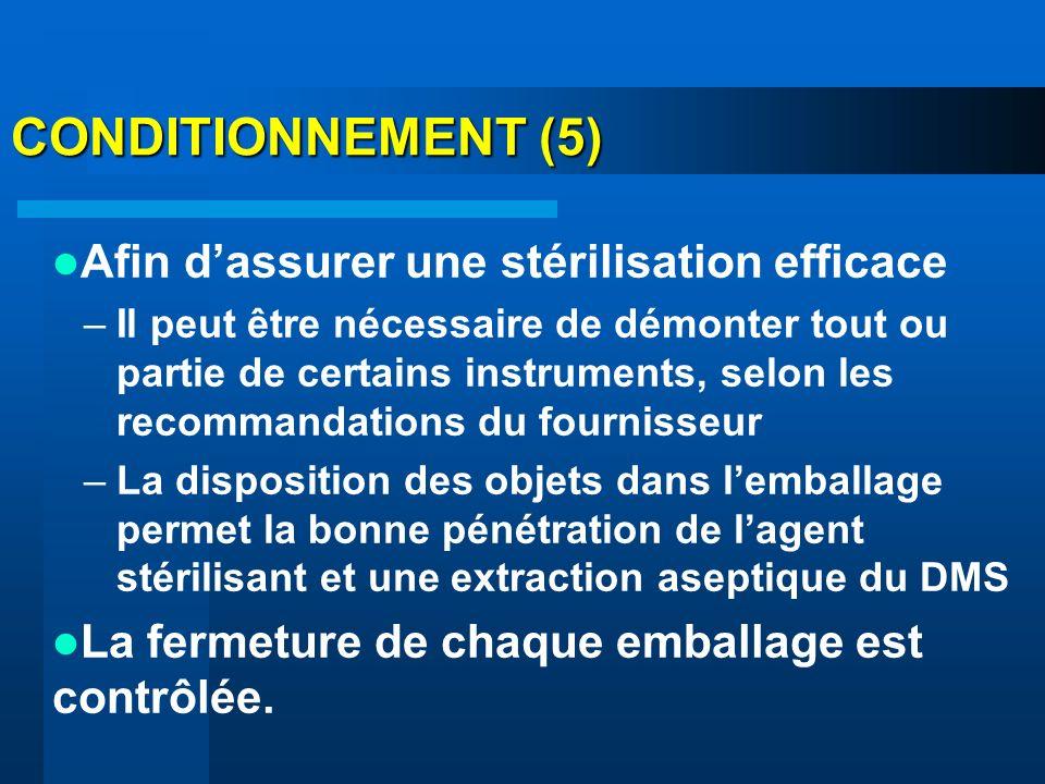 CONDITIONNEMENT (5) Afin d'assurer une stérilisation efficace
