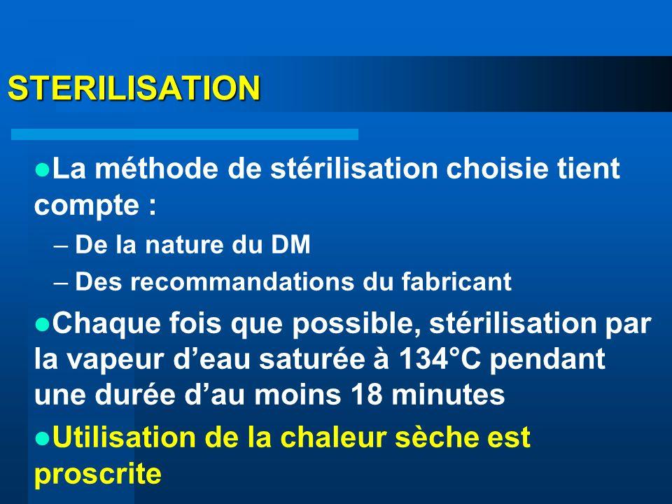 STERILISATION La méthode de stérilisation choisie tient compte :