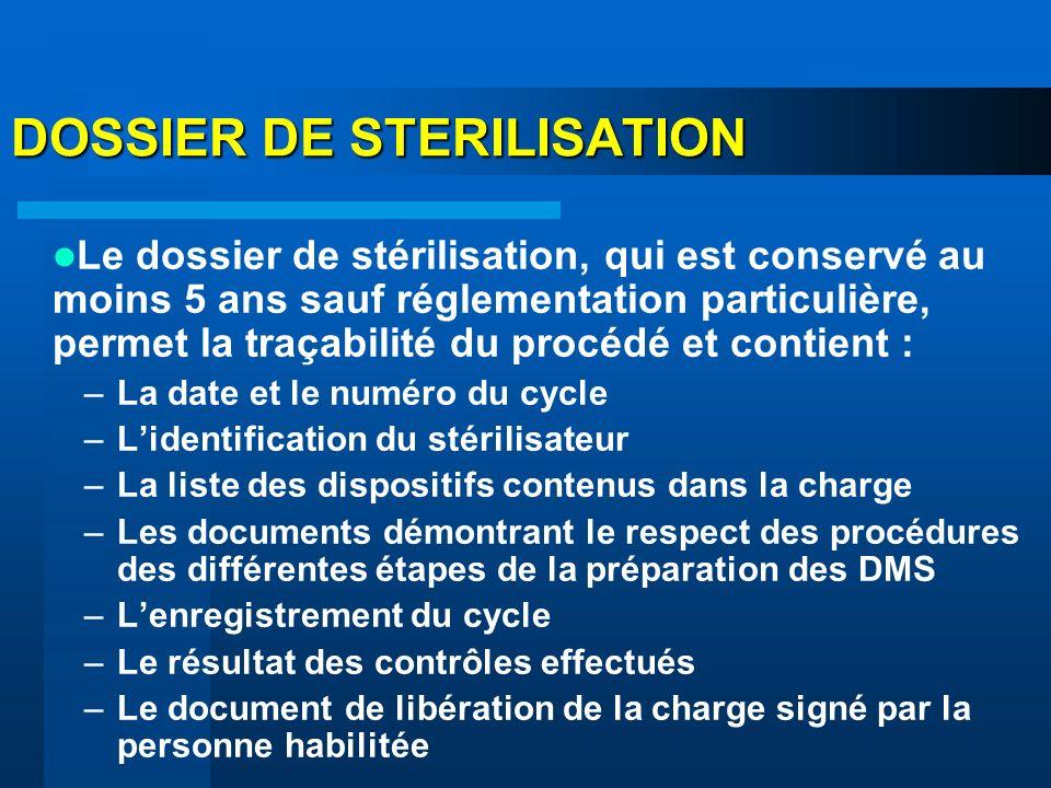 DOSSIER DE STERILISATION
