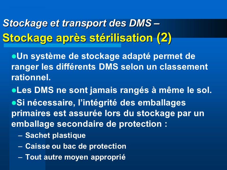 Stockage et transport des DMS – Stockage après stérilisation (2)