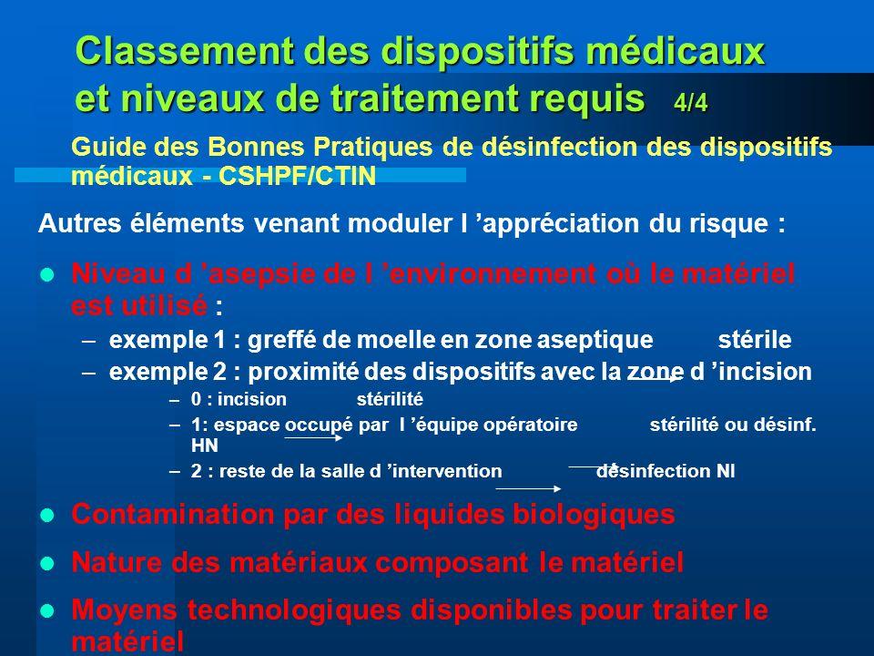 Classement des dispositifs médicaux et niveaux de traitement requis 4/4