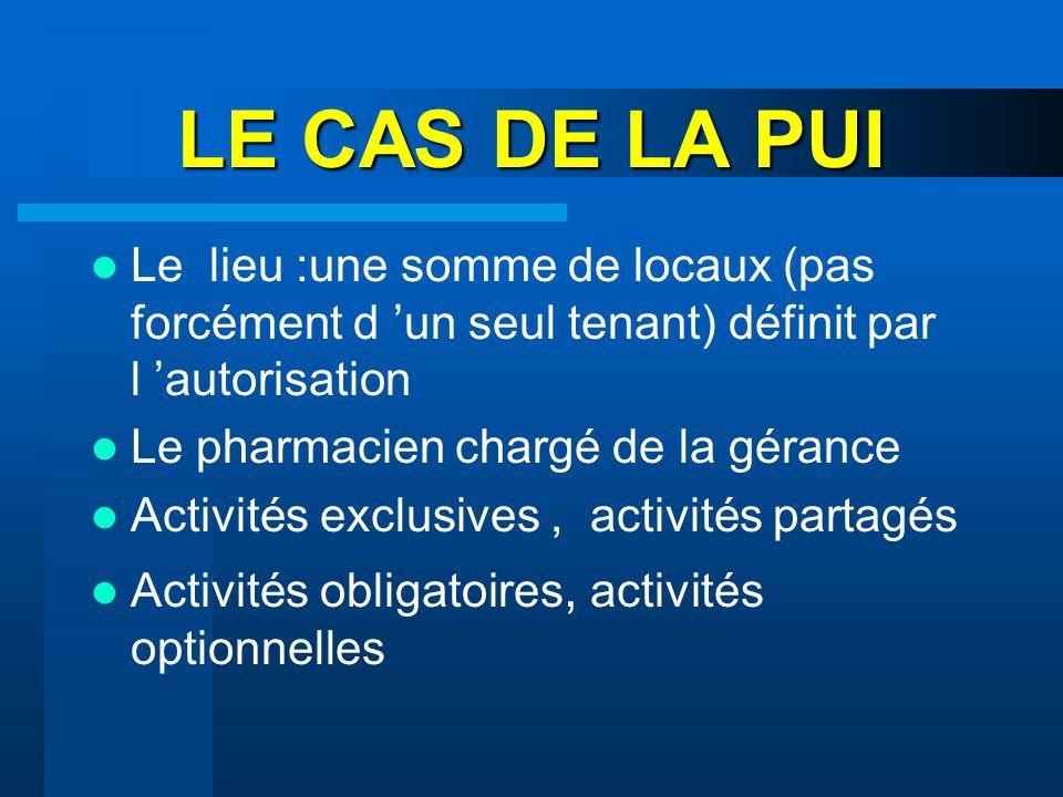 LE CAS DE LA PUI Le lieu :une somme de locaux (pas forcément d 'un seul tenant) définit par l 'autorisation.