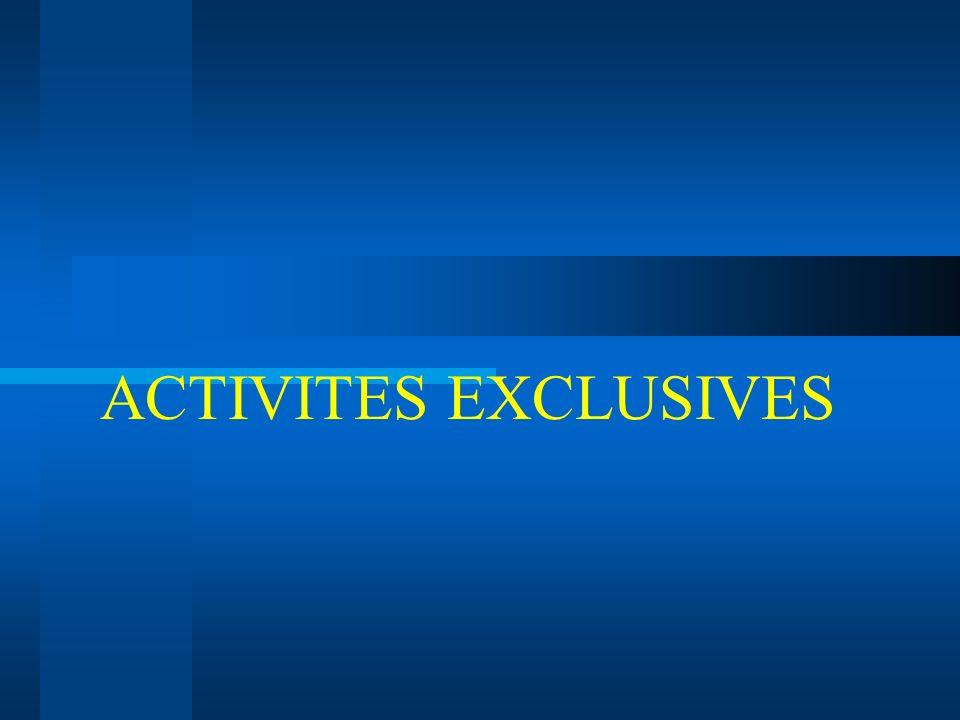 ACTIVITES EXCLUSIVES