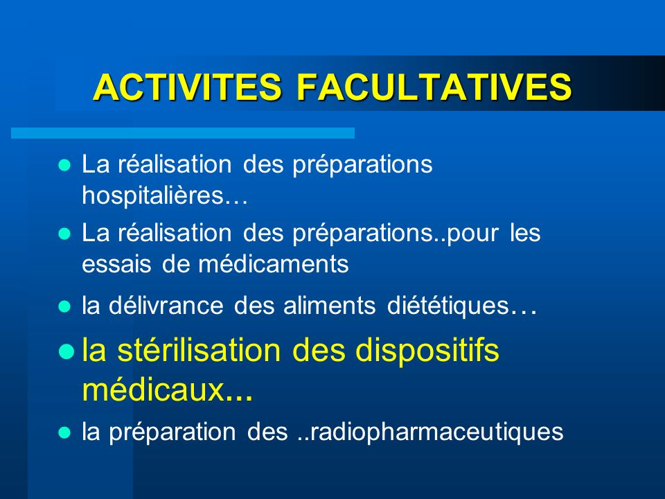 ACTIVITES FACULTATIVES