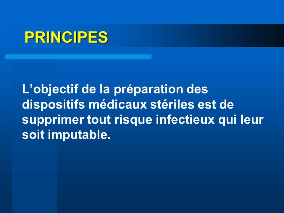 PRINCIPES L'objectif de la préparation des dispositifs médicaux stériles est de supprimer tout risque infectieux qui leur soit imputable.