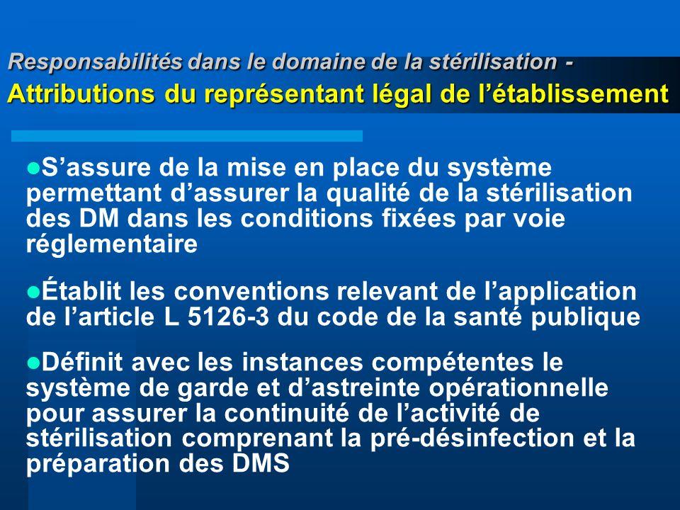 Responsabilités dans le domaine de la stérilisation - Attributions du représentant légal de l'établissement