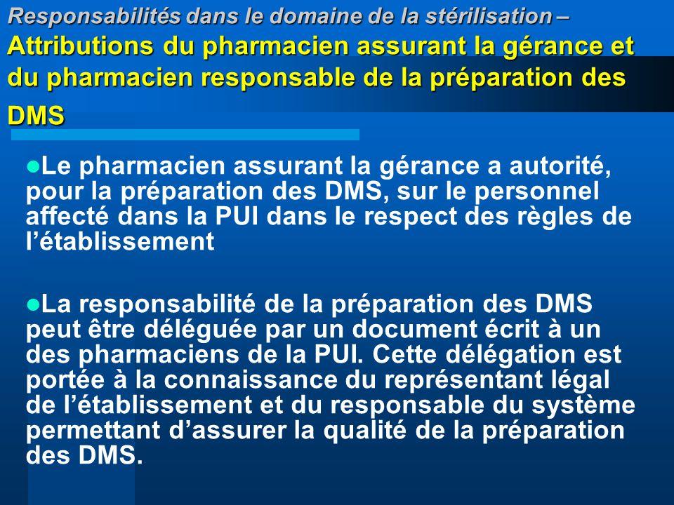 Responsabilités dans le domaine de la stérilisation – Attributions du pharmacien assurant la gérance et du pharmacien responsable de la préparation des DMS