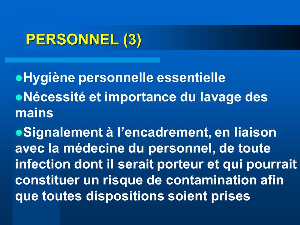 PERSONNEL (3) Hygiène personnelle essentielle
