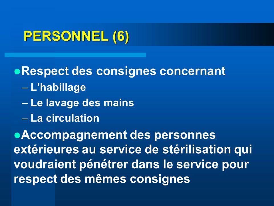 PERSONNEL (6) Respect des consignes concernant
