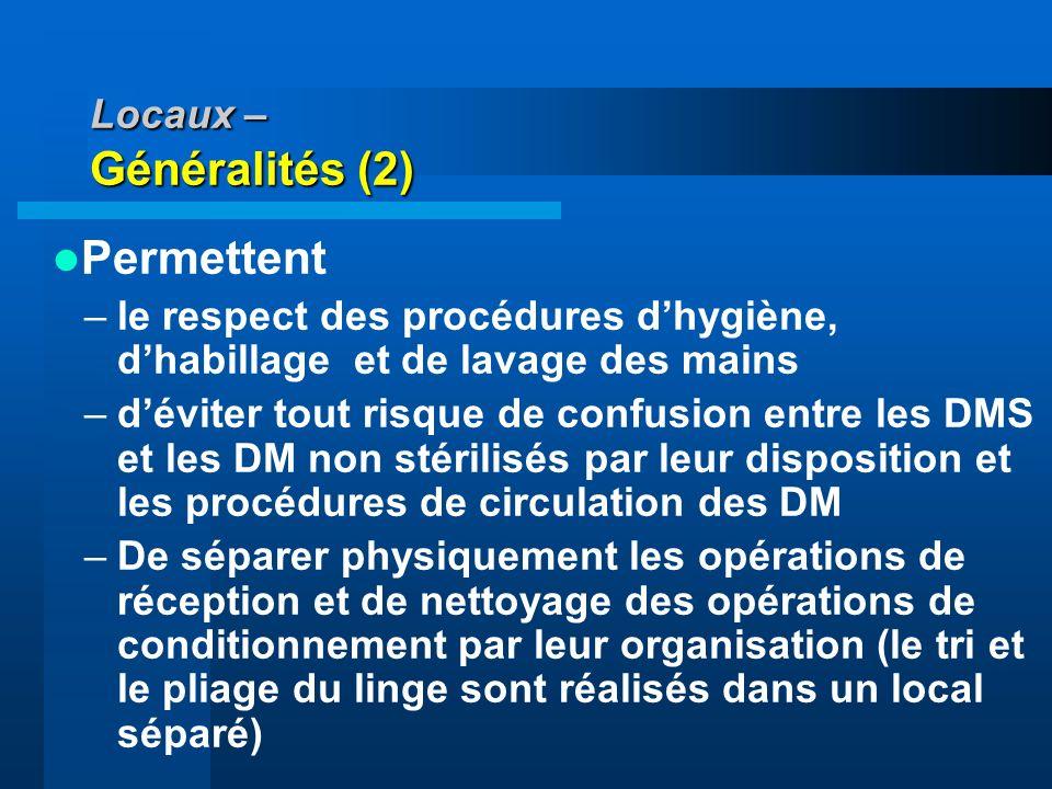 Locaux – Généralités (2)