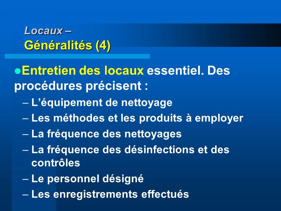Locaux – Généralités (4)