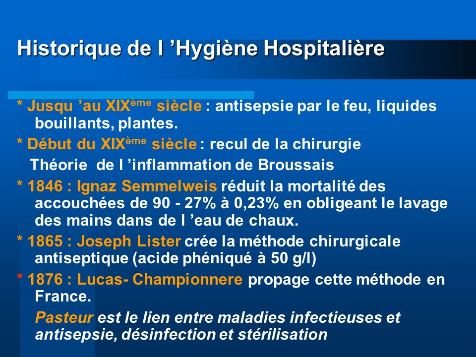 Historique de l 'Hygiène Hospitalière
