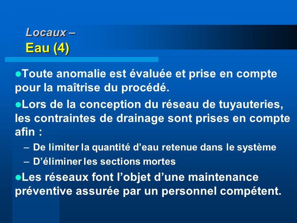 Locaux – Eau (4) Toute anomalie est évaluée et prise en compte pour la maîtrise du procédé.