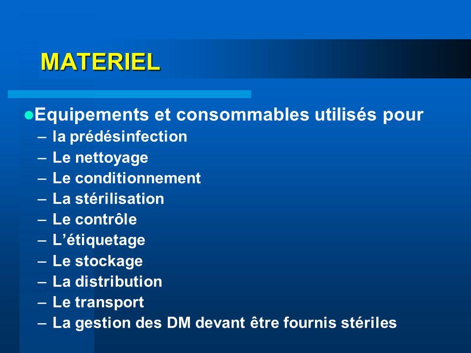 MATERIEL Equipements et consommables utilisés pour la prédésinfection