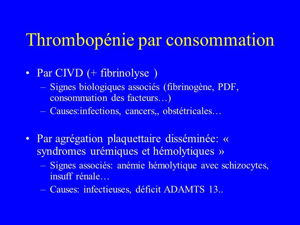 Thrombopénie par consommation