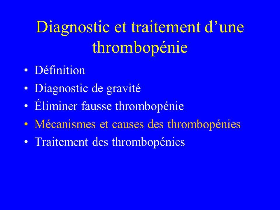 Diagnostic et traitement d'une thrombopénie